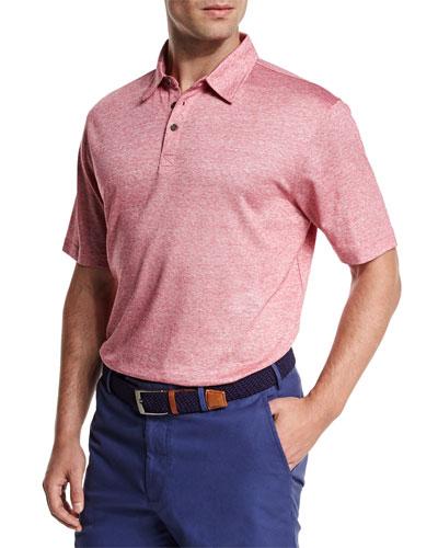 Linen-Blend Short-Sleeve Polo Shirt, Pink