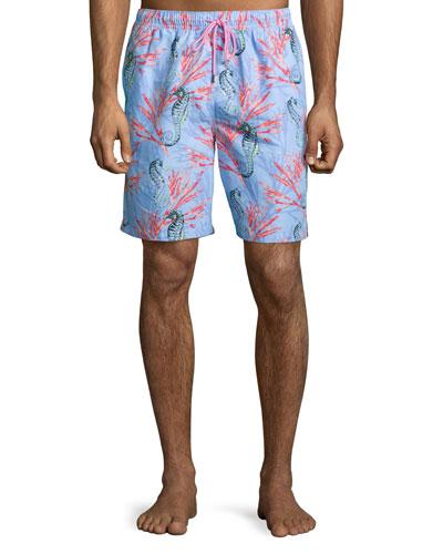 Seahorse Medley Swim Trunks, Blue