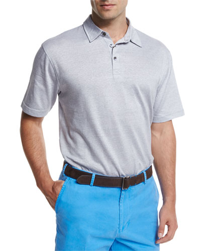 Linen-Blend Short-Sleeve Polo Shirt, Gray