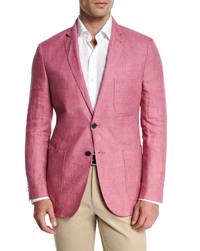 Two-Button Linen Soft Coat, Pink