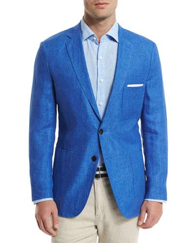 Two-Button Linen Soft Coat, Blue