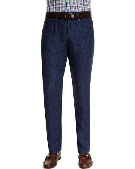 Peter MillarFive-Pocket Linen Pants, Navy