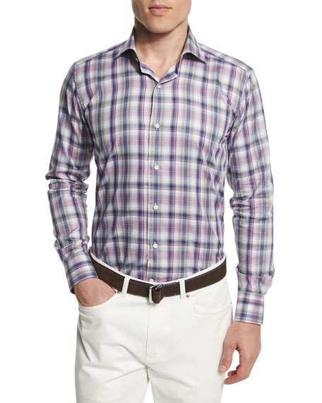 Peter Millar Wool-Blend V-Neck Sweater, Plaid Long-Sleeve Sport