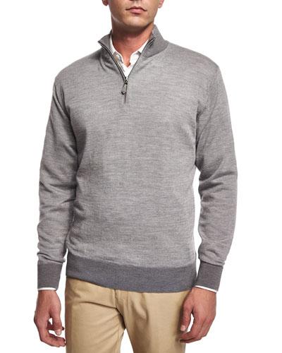 Cashmere-Blend Quarter-Zip Birdseye Sweater, Medium Gray