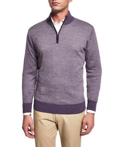 Cashmere-Blend Quarter-Zip Birdseye Sweater, Purple