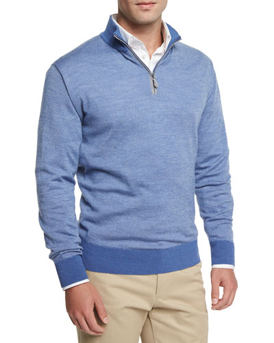 Cashmere Quarter-Zip Pullover Sweater, Blue