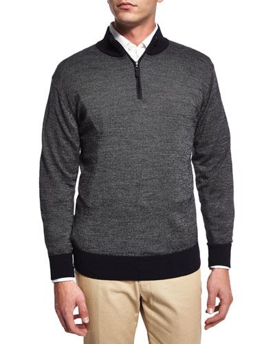 Cashmere-Blend Quarter-Zip Birdseye Sweater, Dark Blue