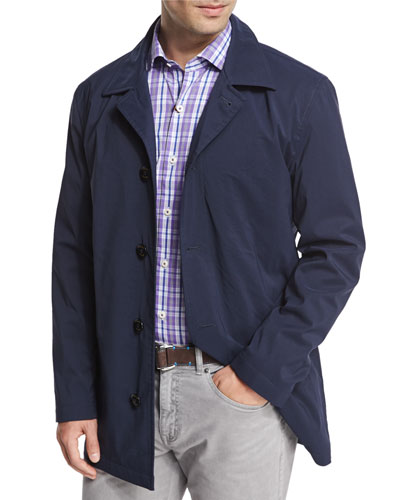 Peter Millar Knightsbridge Button-Down City Coat, Navy
