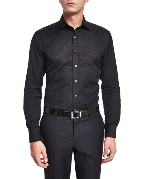 Etro Tonal-Jacquard Long-Sleeve Sport Shirt, Black