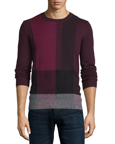Abstract-Check Cashmere Sweater, Burgundy