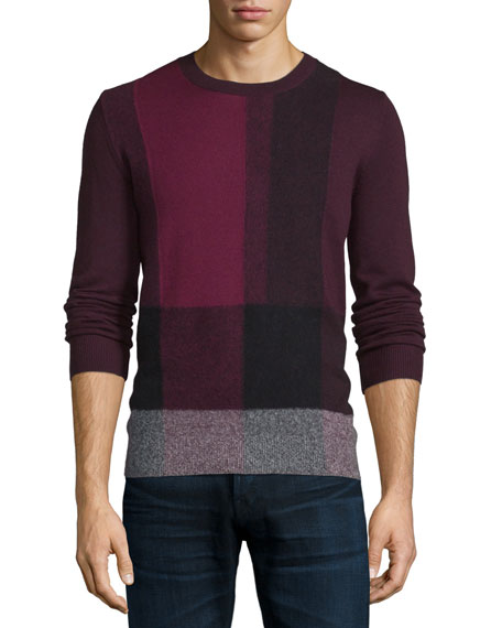 Burberry Brit Abstract-Check Cashmere Sweater, Burgundy