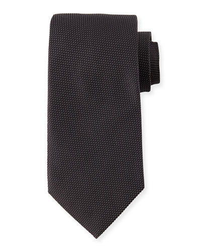 Textured-Dot Silk Tie, Black