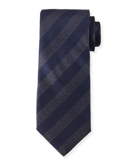 Iridescent Striped Silk Tie, Navy