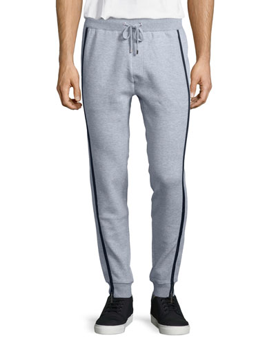 Drawstring Sweatpants with Nylon Trim, Heather Gray
