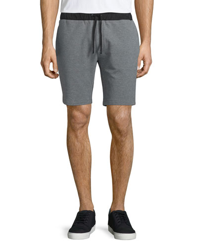 Cotton-Stretch Sweat Shorts, Dark Gray