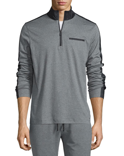 Nylon-Trim Half-Zip Pullover Sweater, Gray