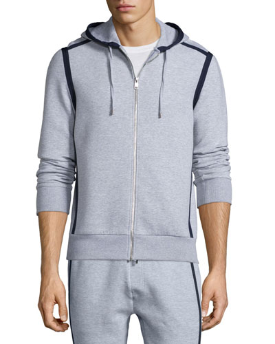 Front-Zip Hoodie with Contrast Trim, Heather Gray