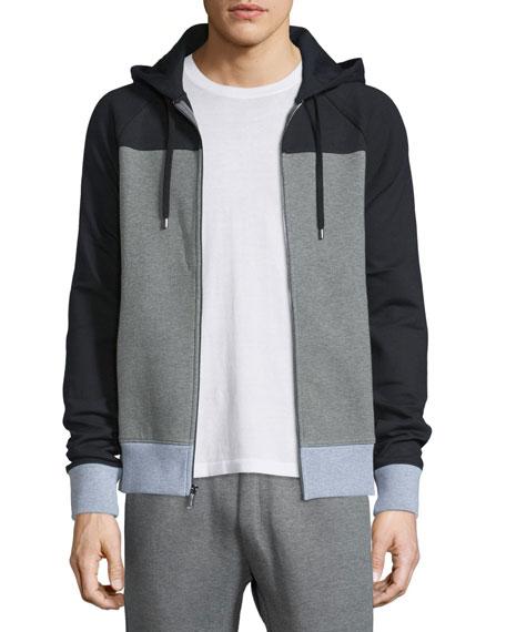 MICHAEL KORS Colorblock Zip-Up Hoodie, Gray/Black