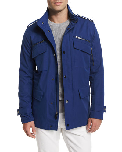 Nylon-Blend Utility Jacket, Blue