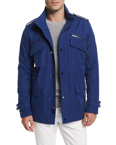 Michael Kors Nylon-Blend Utility Jacket, Textured Crewneck