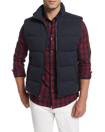 Quilted Zip-Up Vest, Navy