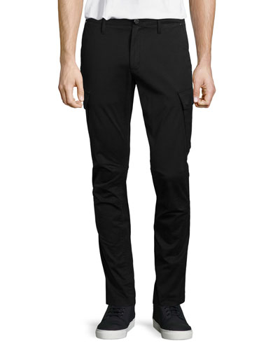 Slim-Fit Stretch Cargo Pants, Black