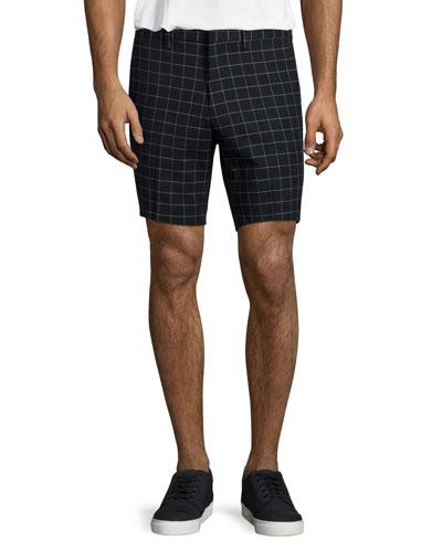 Windowpane-Print Stretch-Cotton Shorts, Navy