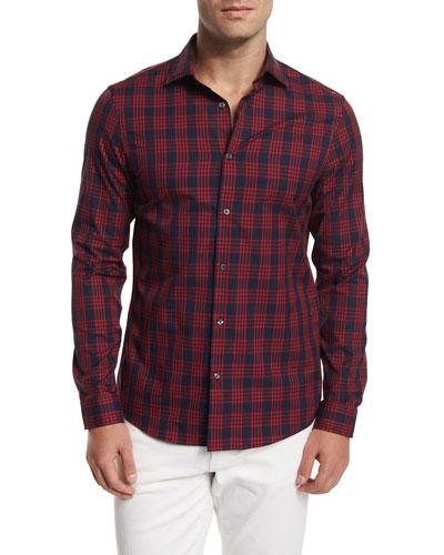 Plaid-Check Long-Sleeve Sport Shirt, Red Plaid