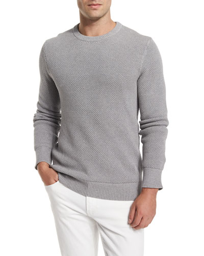 Textured Crewneck Long-Sleeve Sweater, Gray