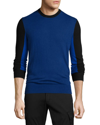 Colorblock Crewneck Sweater, Navy