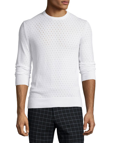 Perforated Long-Sleeve Sweater, White
