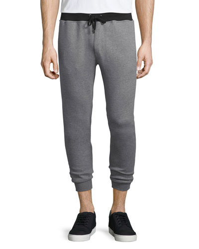 Colorblock Heathered Sweatpants, Gray/Black