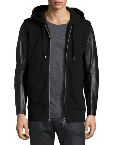 Mifun Fleece Zip-Up Hoodie with Leather Sleeves, Black