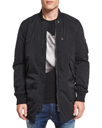 J-Ubilee Nylon Bomber Shirt Jacket, Black