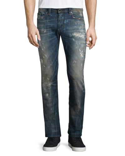 Diesel Thavar Distressed Skinny-Leg Jeans, Denim