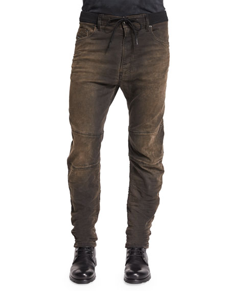 Diesel Narrot Dirty Brown Moto Jogger Jeans, Brown