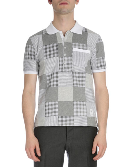 Thom Browne Patchwork Short-Sleeve Jersey Polo Shirt, Gray