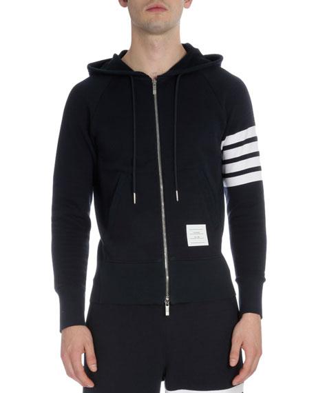 Thom Browne Zip-Up Hoodie with Striped-Sleeve, Navy