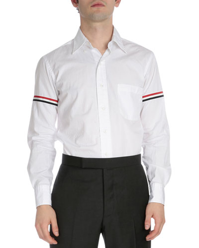 Classic Button-Down Shirt with Stripes, White