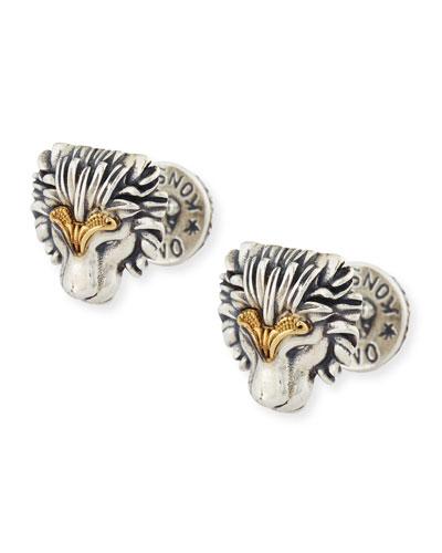 Minos Sterling/18k Gold Lion Head Cuff Links