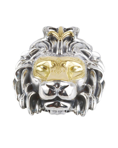 Men's Minos Sterling Silver & Gold Lion Head Pendant