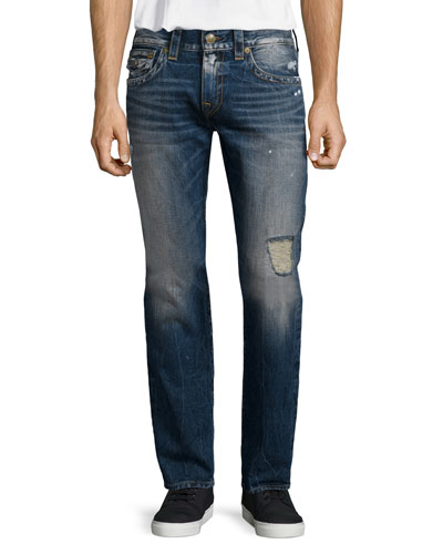 Geno Relaxed-Leg Distressed Denim Jeans, Blue