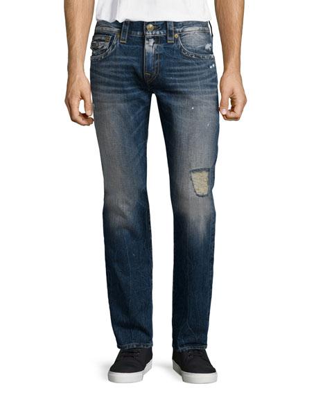 True Religion Geno Relaxed-Leg Distressed Denim Jeans, Blue