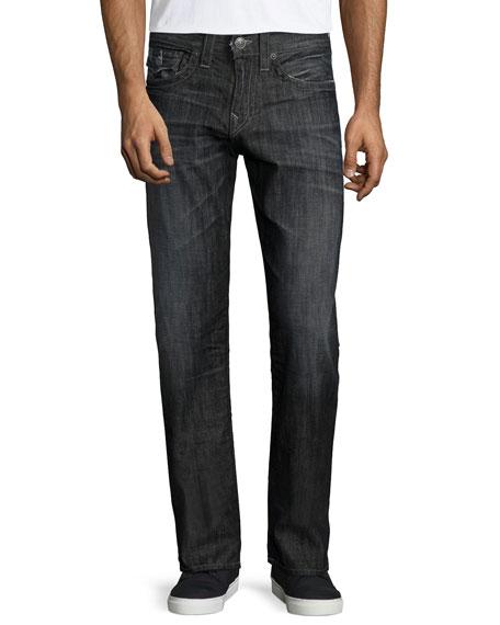 True Religion Geno Relaxed-Leg Faded Denim Jeans, Black/Gray