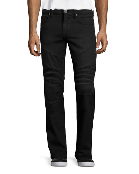 True Religion Geno Relaxed-Leg Moto Jeans, Black