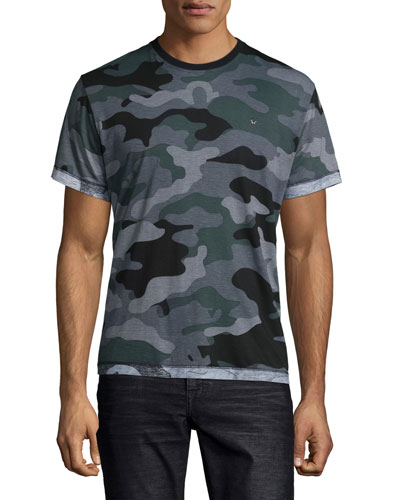Camo-Print Short-Sleeve Tee, Gray Pattern