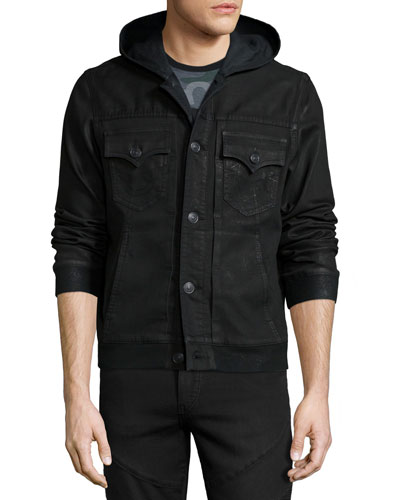 Dylan Hooded Slim-Fit Jacket, Black