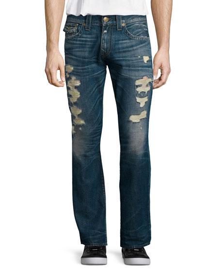 True Religion Ricky Distressed Denim Jeans, Medium Blue