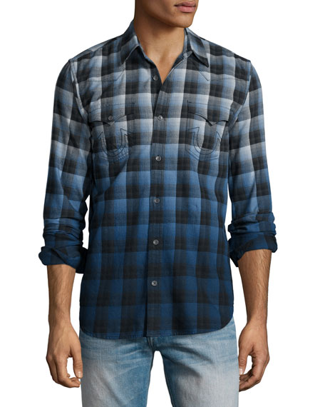 True Religion Western-Style Ombre Plaid Shirt, Blue