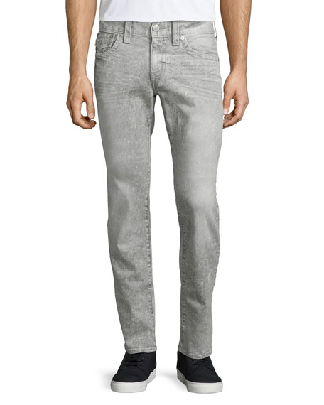 True Religion Geno Acid Wash Relaxed-Leg Jeans, White/Gray